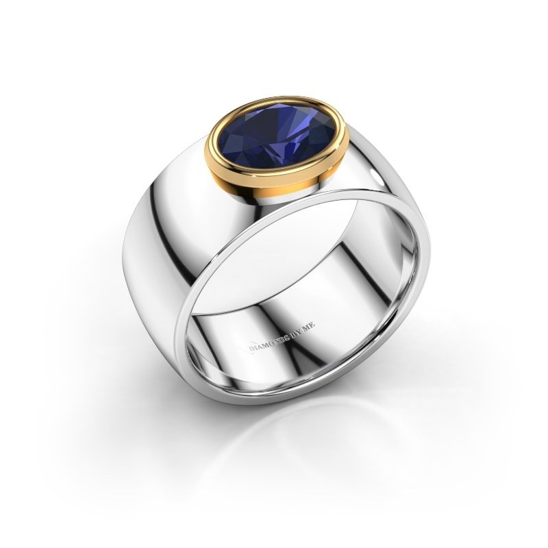 Ring Wilma 1 585 witgoud saffier 8x6 mm
