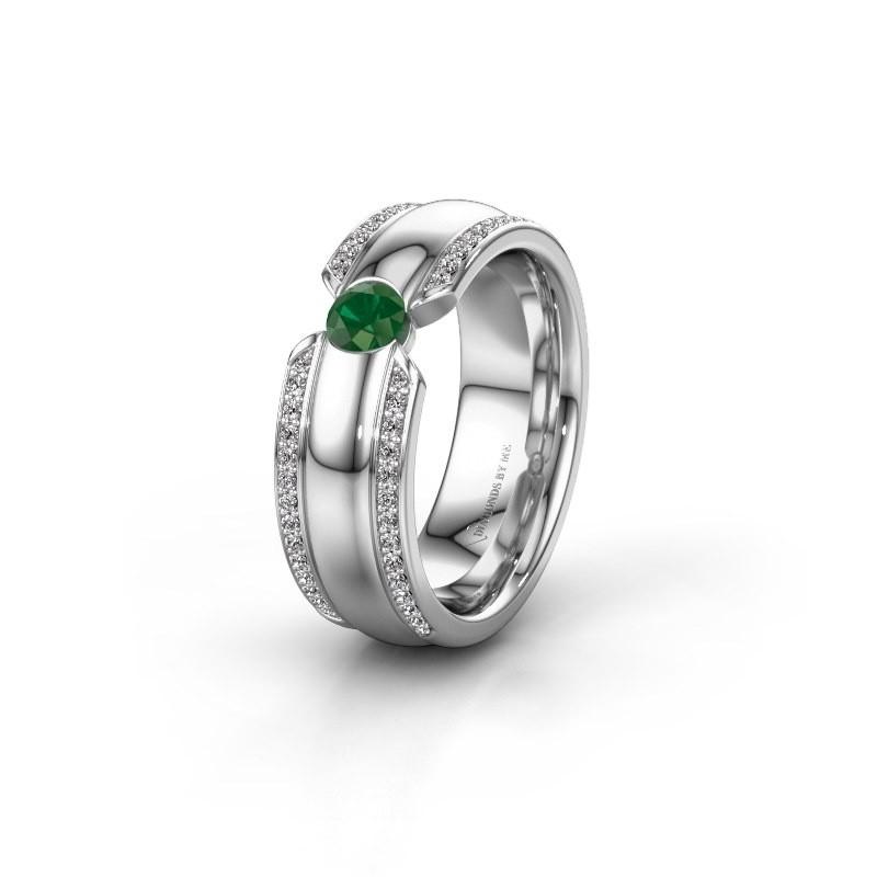 Wedding ring WHR0575L 950 platinum emerald ±7x2 mm