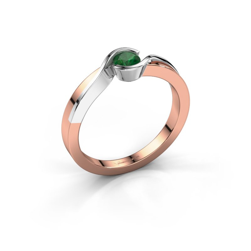 Ring Lola 585 rose gold emerald 4 mm