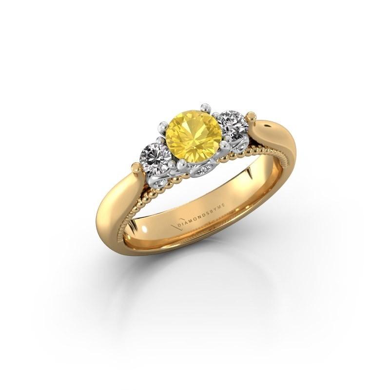 Verlovingsring Tiffani 585 goud gele saffier 5 mm