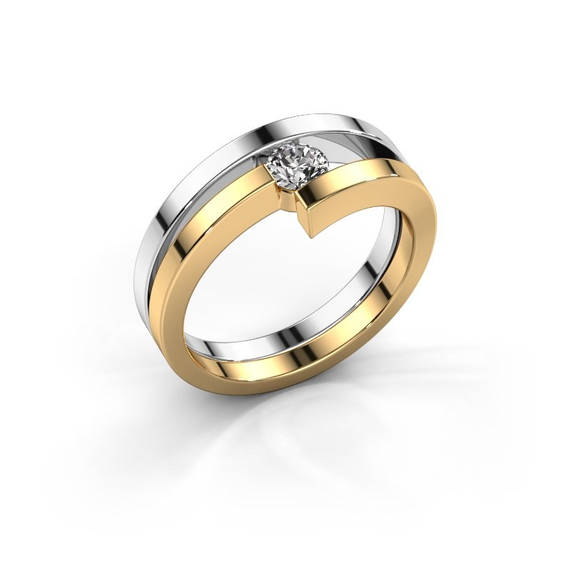 Ring Nikia 585 witgoud diamant 0.25 crt