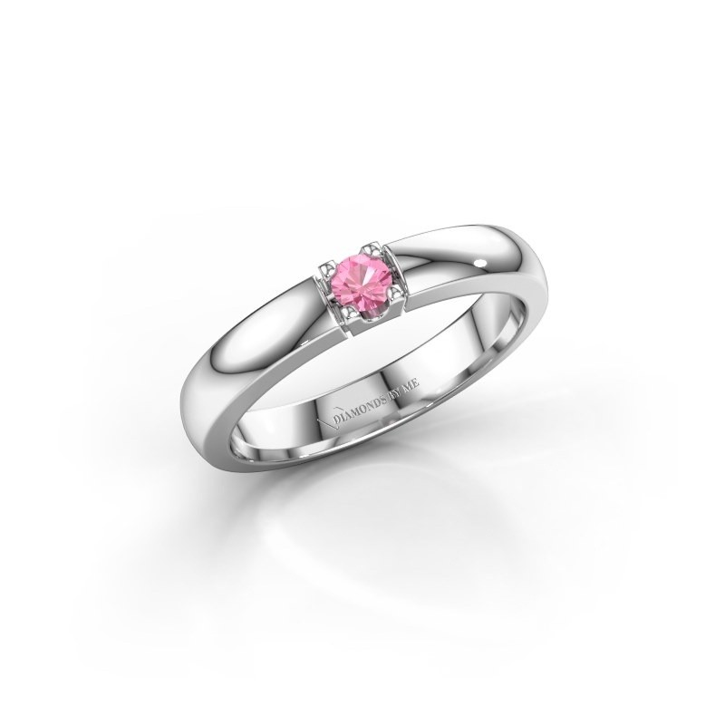 Engagement ring Rianne 1 585 white gold pink sapphire 3 mm