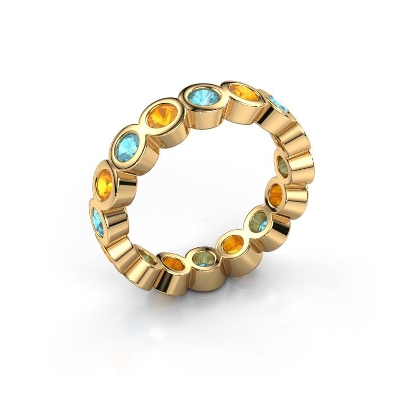 Aanschuifring Edwina 3 375 goud blauw topaas 3 mm