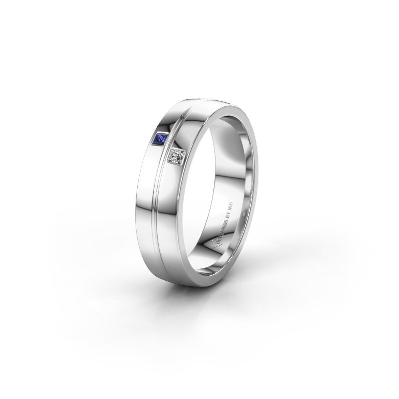 Wedding ring WH0231L25BP 950 platinum sapphire ±0.20x0.08 in