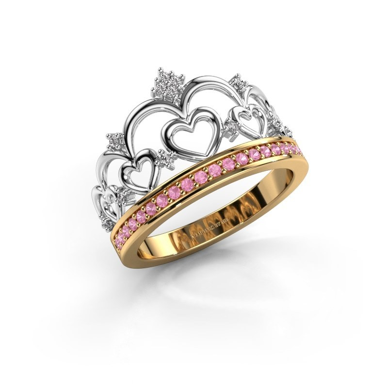 Ring Kroon 2 585 goud roze saffier 1.2 mm