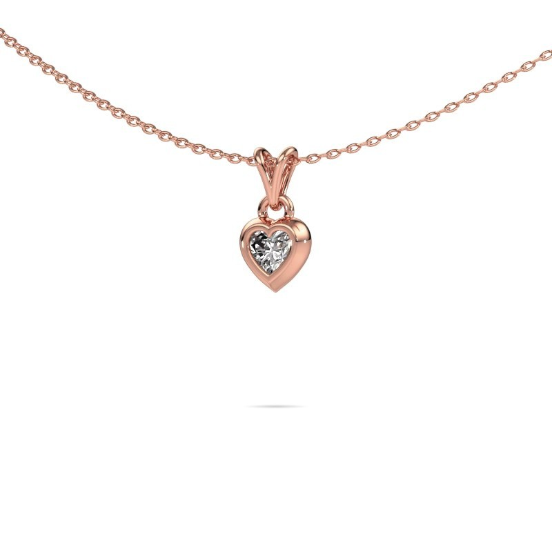 Hanger Charlotte Heart 375 rosé goud diamant 0.25 crt