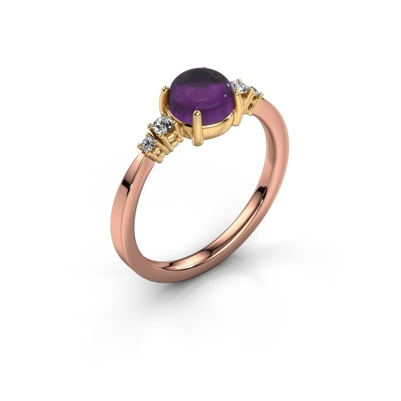 Ring Regine 585 rose gold amethyst 6 mm