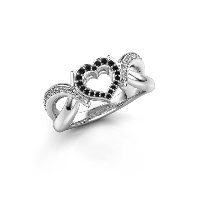 Ring Earlie 2 585 witgoud zwarte diamant 0.259 crt