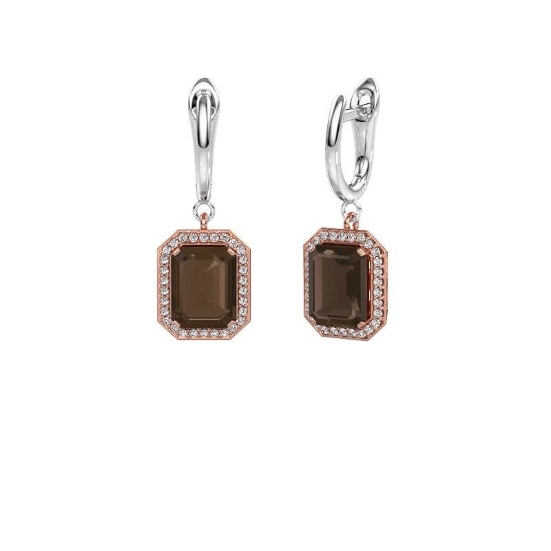 Drop earrings Dodie 1 585 rose gold smokey quartz 9x7 mm