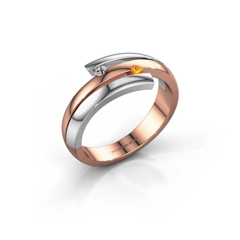 Ring Dena 585 rosé goud citrien 2 mm