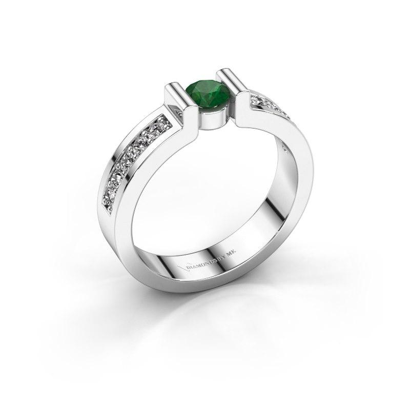 Verlovingsring Isabel 2 585 witgoud smaragd 4 mm
