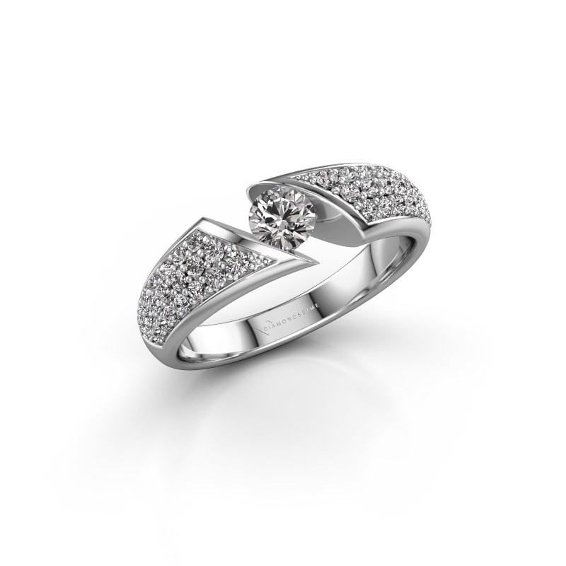 Engagement ring Hojalien 3 585 white gold zirconia 4.2 mm