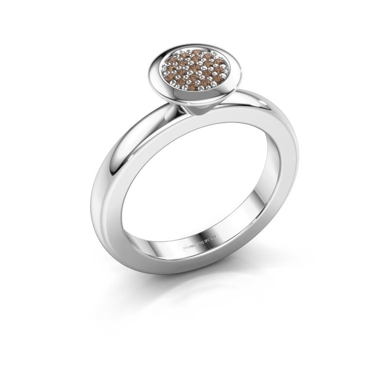 Stapelring Rani 925 zilver bruine diamant 0.098 crt