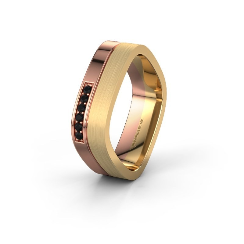 Wedding ring WH6030L16A 585 rose gold black diamond ±6x1.7 mm