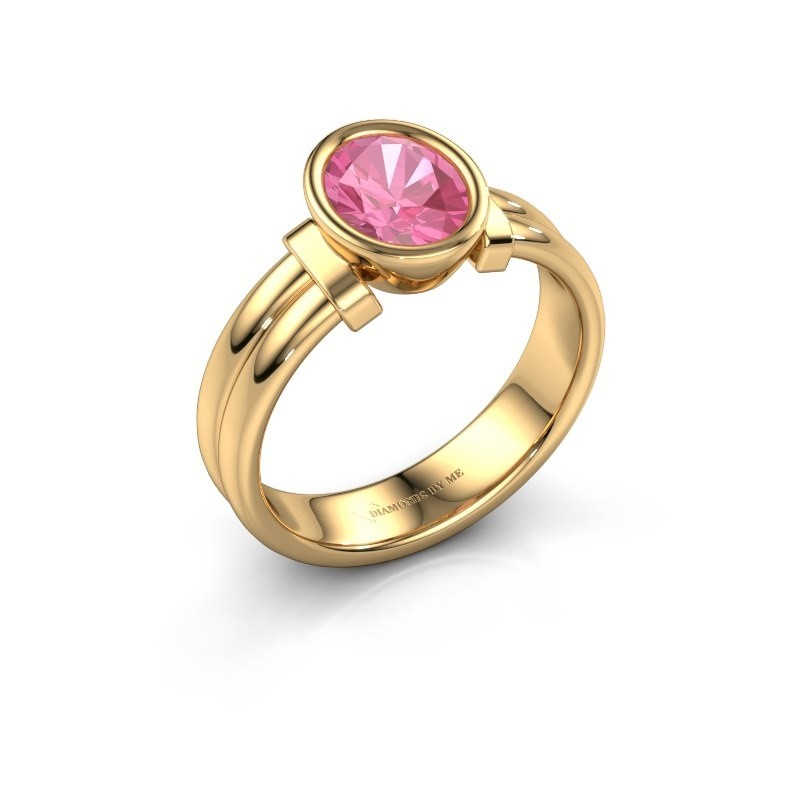 Bague Gerda 585 or jaune saphir rose 8x6 mm