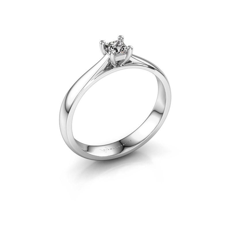 Bague de fiançailles Sam Square 585 or blanc diamant 0.17 crt