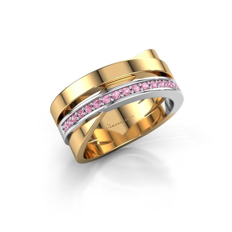 Ring Yolando 585 goud roze saffier 1.3 mm