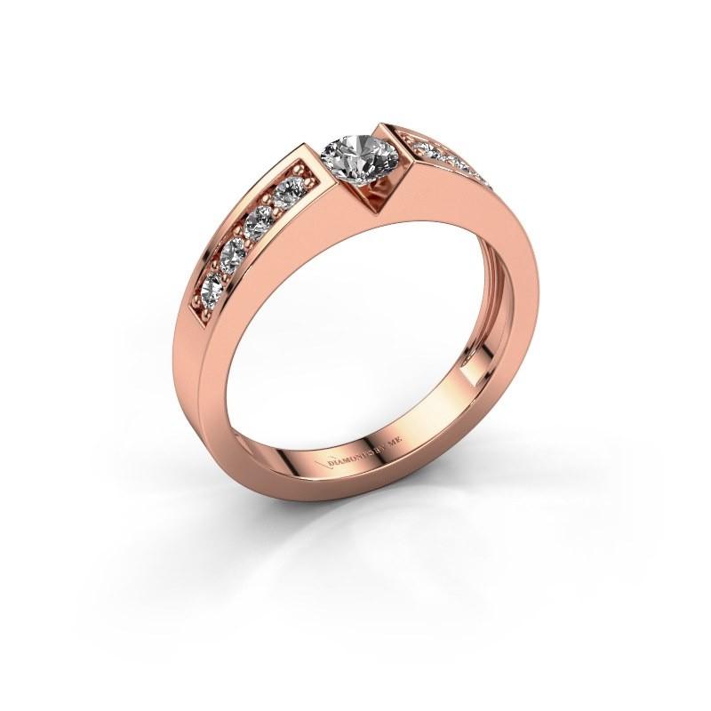 Verlovingsring Lizzy 2 375 rosé goud diamant 0.25 crt