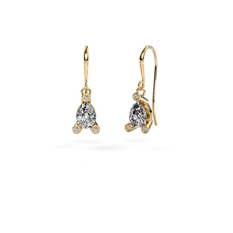Drop earrings Bunny 1 585 gold zirconia 7x5 mm