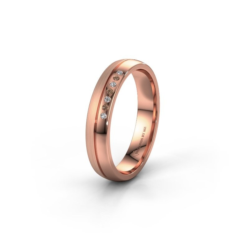 Wedding ring WH0216L24APM 585 rose gold brown diamond ±4x1.7 mm