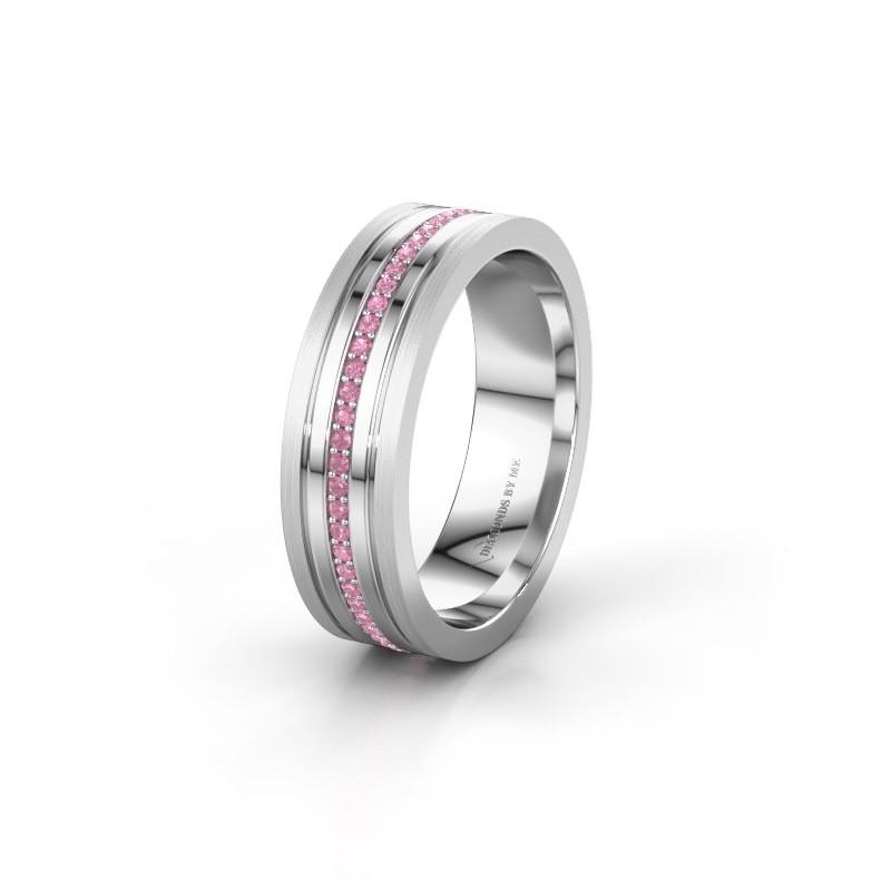 Trouwring WH0404L16A 950 platina roze saffier ±6x1.7 mm