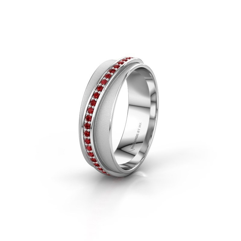 Weddings ring WH2126L 585 white gold ruby ±6x1.7 mm