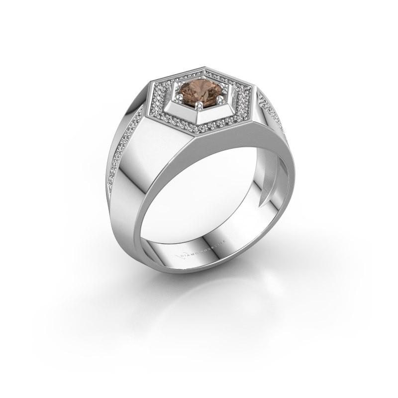 Men's ring Sjoerd 925 silver brown diamond 0.73 crt