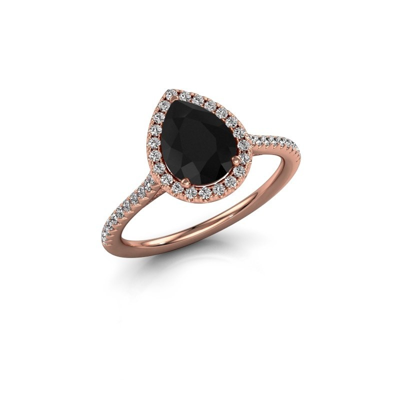 Halo Rose Gold Engagement Ring With Pear Black Diamond 1 25 Crt Seline Per 2 30