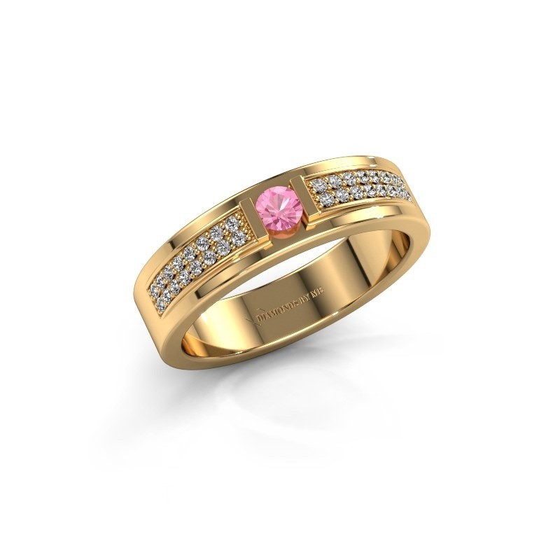 Ring Chanell 375 goud roze saffier 3 mm