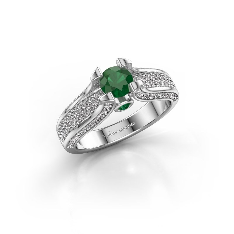 Verlovingsring Jeanne 2 585 witgoud smaragd 5 mm