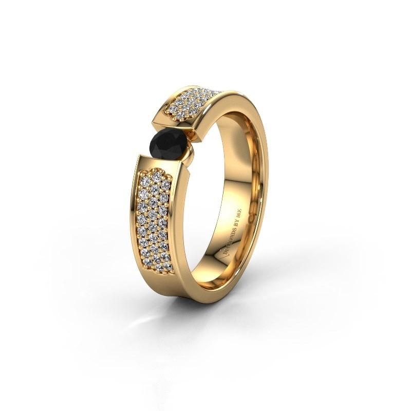 Trouwring WH2100L 375 goud zwarte diamant ±5x3 mm