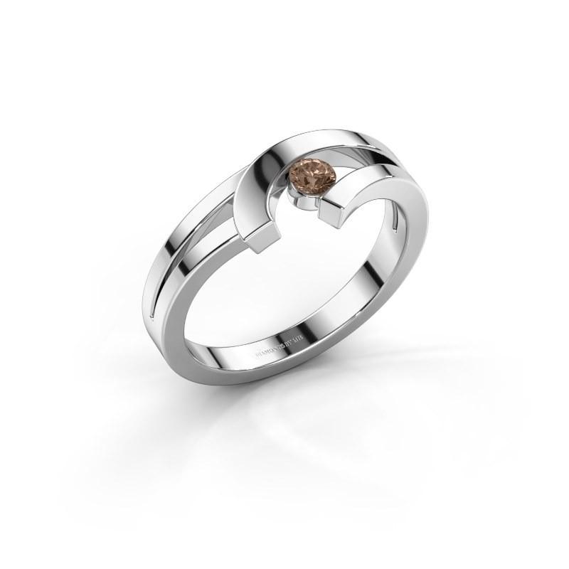 Ring Yentl 585 witgoud bruine diamant 0.10 crt