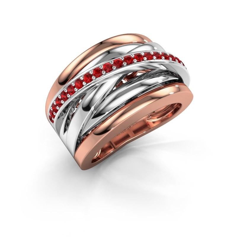 Ring Clair 1 585 rosé goud robijn 1.5 mm