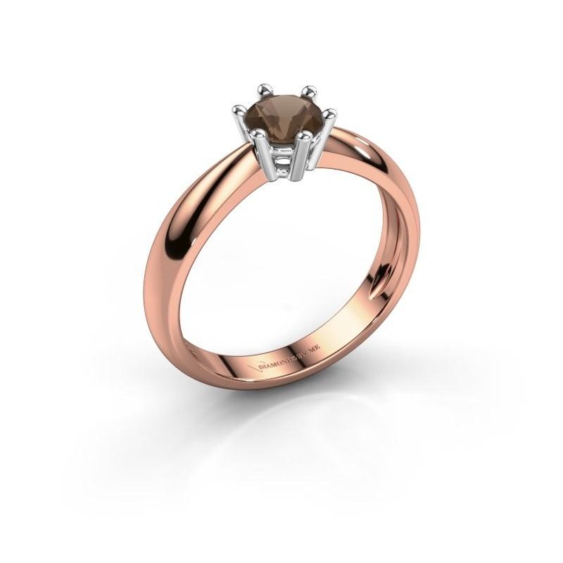 Verlovingsring Fay 585 rosé goud rookkwarts 5 mm