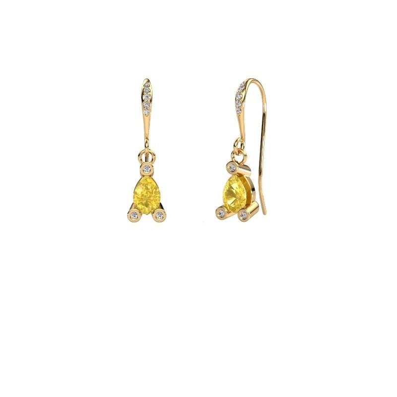 Drop earrings Bunny 2 585 gold yellow sapphire 7x5 mm