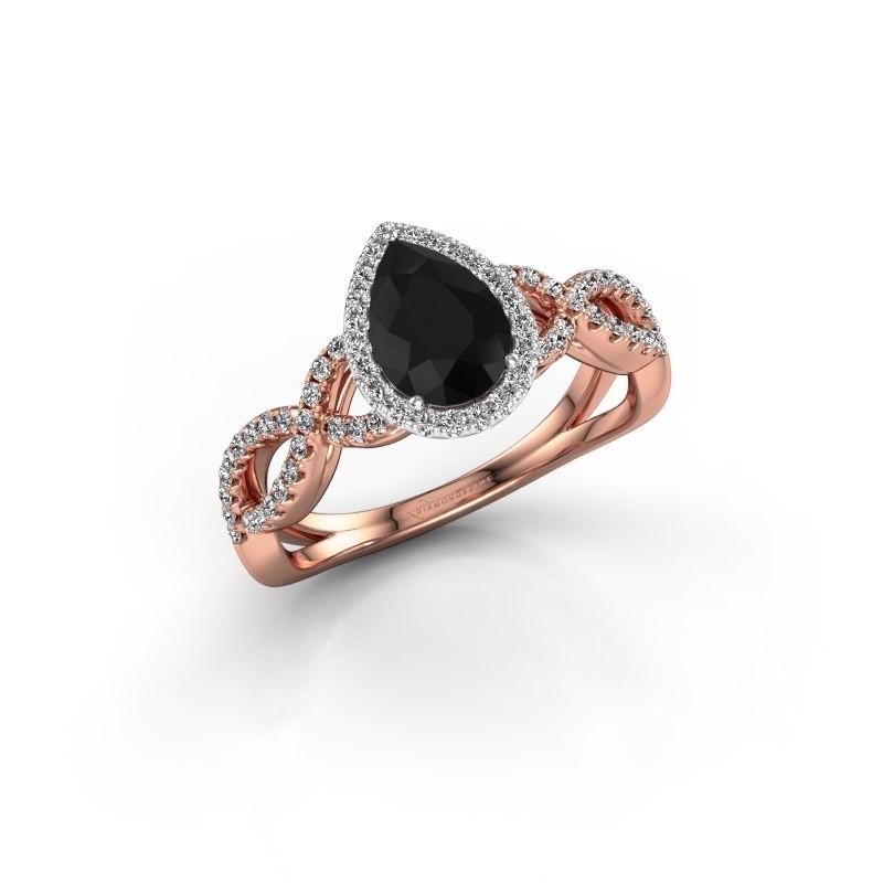 Engagement ring Dionne pear 585 rose gold black diamond 1.34 crt