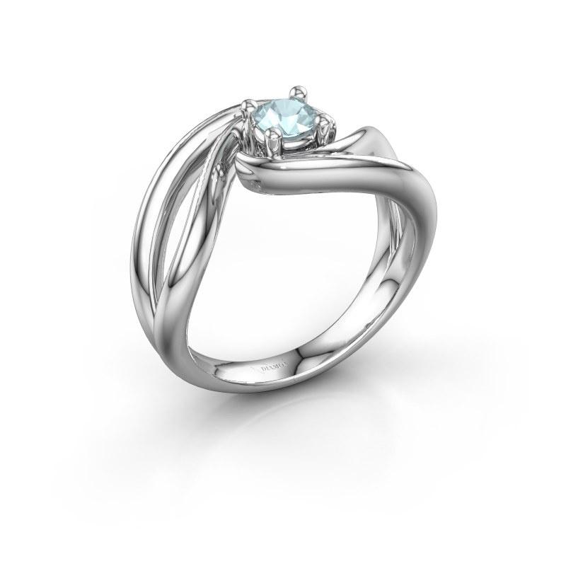 Ring Kyra 925 zilver aquamarijn 4 mm
