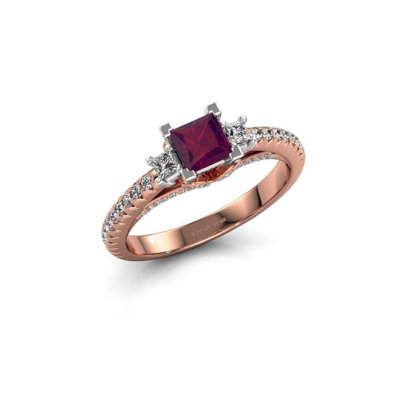Verlovingsring Valentina 585 rosé goud rhodoliet 4.25 mm