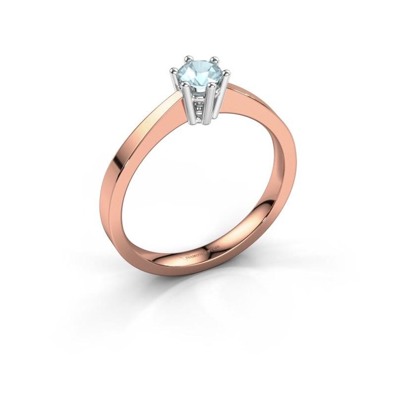Engagement ring Noortje 585 rose gold aquamarine 4 mm