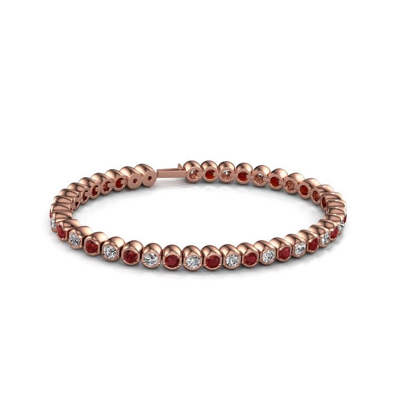 Tennisarmband Bianca 3.5 mm 375 rosé goud robijn 3.5 mm