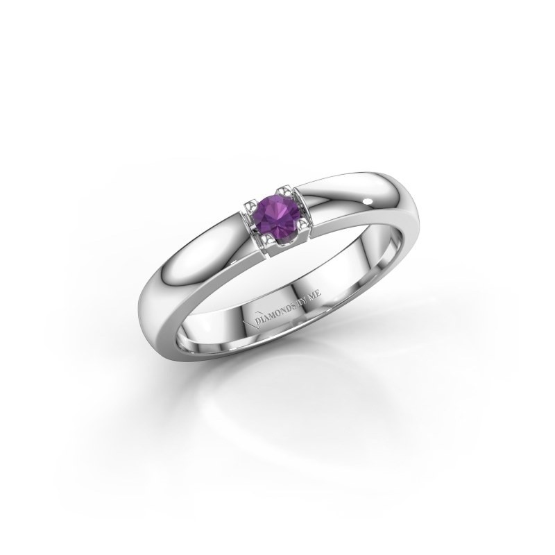 Engagement ring Rianne 1 925 silver amethyst 3 mm