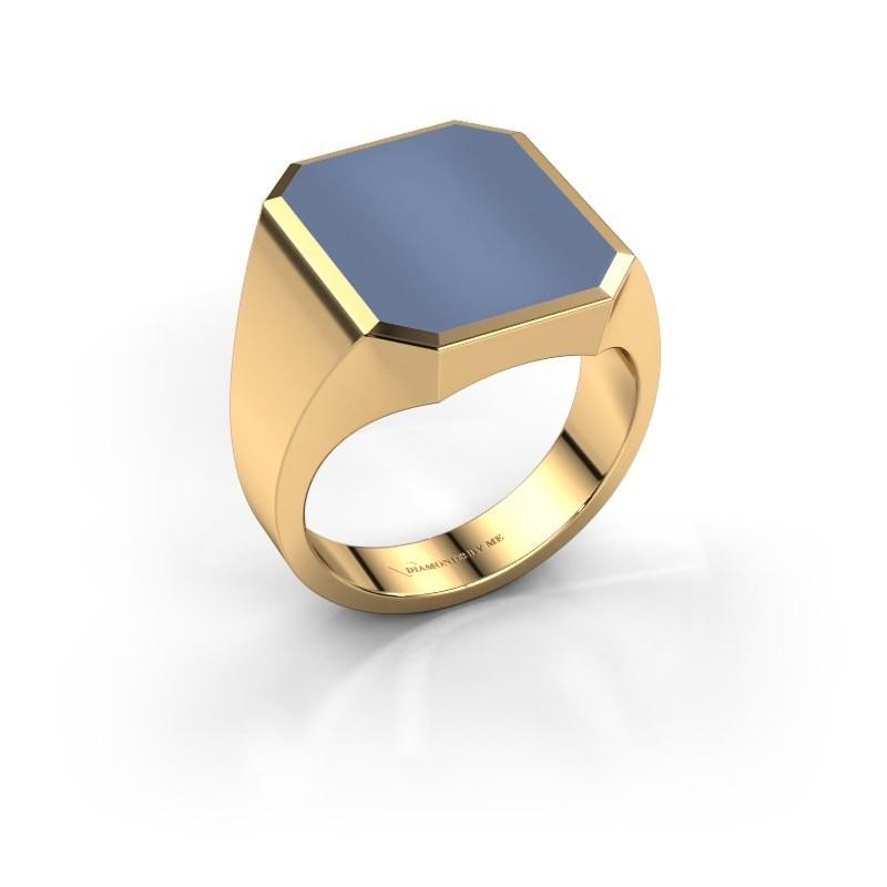 Zegelring Lars 5 585 goud licht blauwe lagensteen 16x13 mm