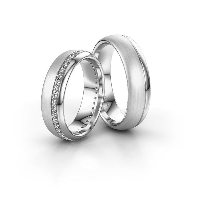 Huwelijksringen set WH0303LM36BMP ±6x2 mm 14 karaat witgoud diamant 0.01 crt