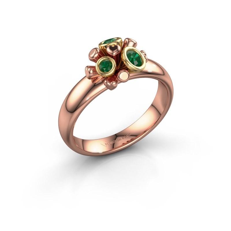 Ring Pameila 585 rosé goud smaragd 2 mm