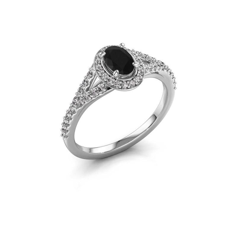 Belofte ring Pamela OVL 585 witgoud zwarte diamant 1.286 crt