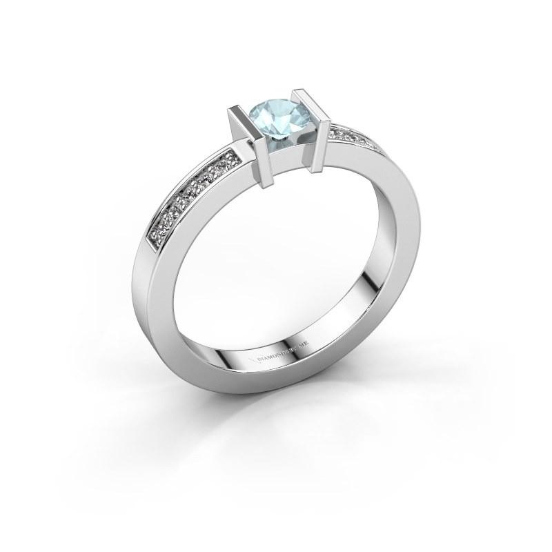 Engagement ring Maryam 585 white gold aquamarine 4 mm