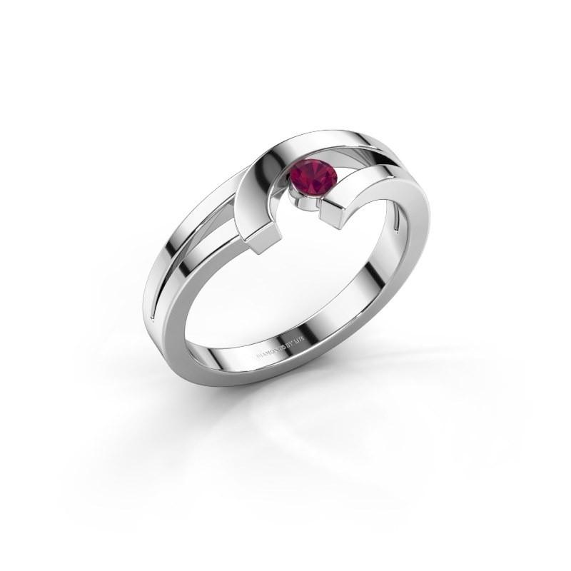 Ring Yentl 585 witgoud rhodoliet 3 mm