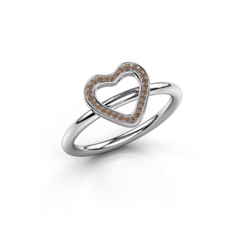 Ring Initial heart 950 platina bruine diamant 0.038 crt