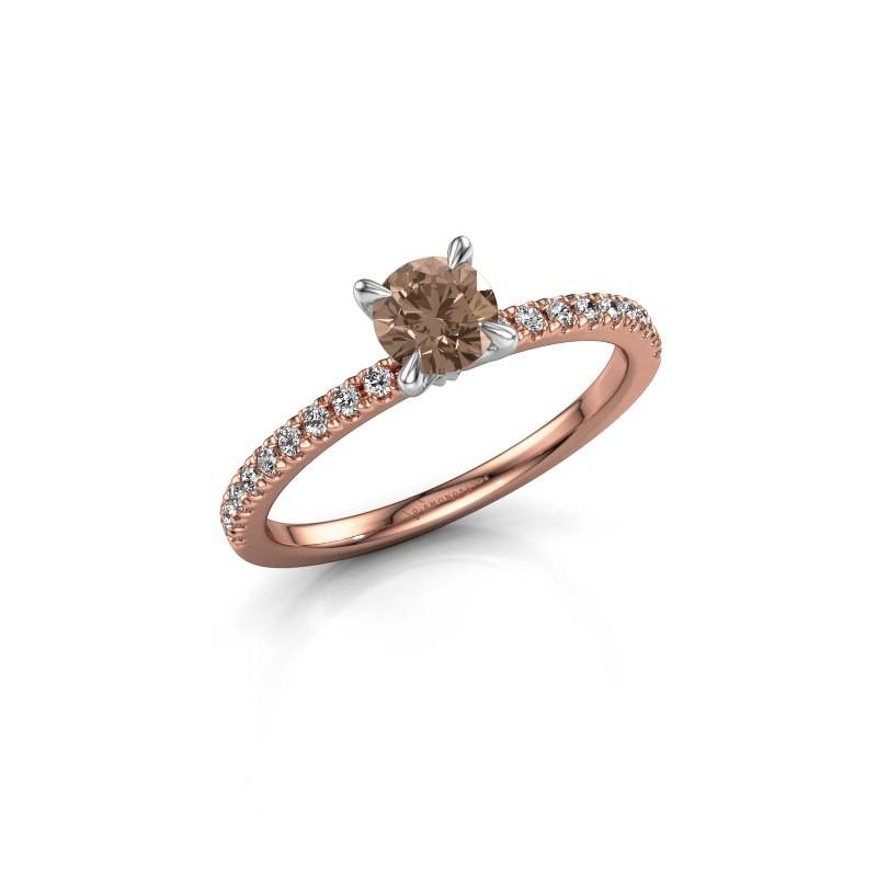 Verlovingsring Crystal rnd 2 585 rosé goud bruine diamant 0.680 crt