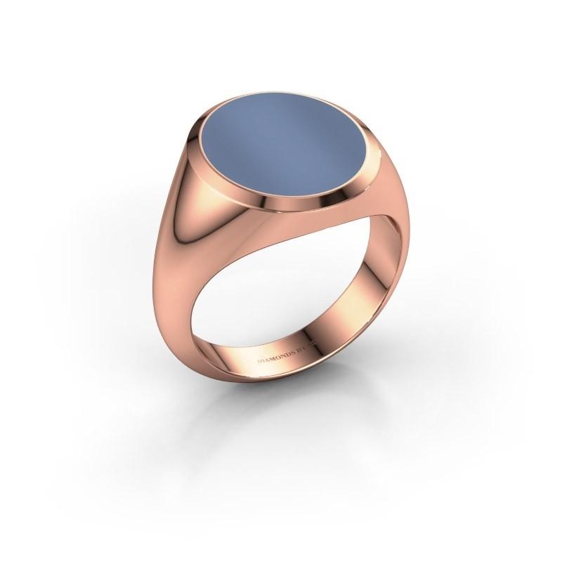 Zegelring Herman 5 375 rosé goud licht blauwe lagensteen 15x13 mm